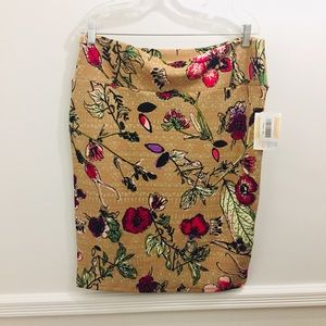 NWT Lularoe Cassie Skirt 2XL Floral tan red purple